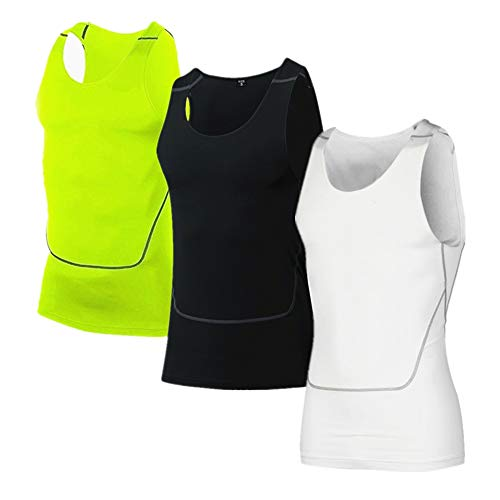 Men's 3 Pack Compression Athletic Tank Top, Base Layer Sport Dry Fit Tank Top Black/White/Green M