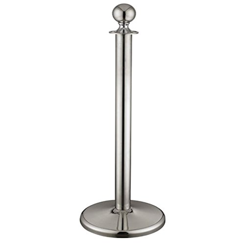FixtureDisplays Crowd Control Stanchion Queue Barrier Post Chrome Crown Top Take Ropes 12004-4 - Post Chrome Barrier