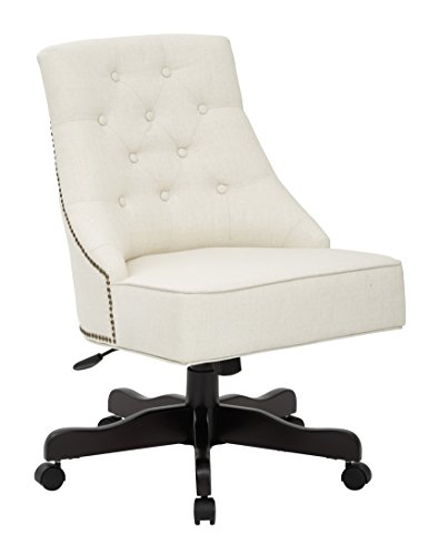 INSPIRED by Bassett Rebecca Bonded Leather Seat and Tufted Back Office Chair with Nailhead Accents, White