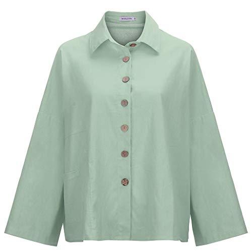 - TUSANG Women Tees Button Tops Linen Cotton Fashion Long Sleeve Short T Shirt Ladies Blouse Slim Fit Casual Tunic(Army Green,US-6/CN-M)