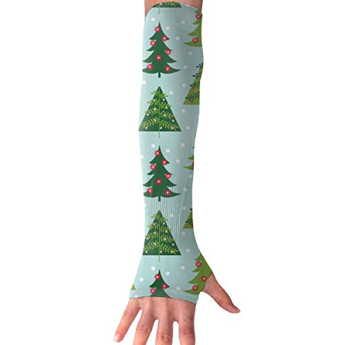 MASDUIH Christmas Trees Gloves Anti-uv Sun Protection Long Fingerless Arm Cooling Sleeve