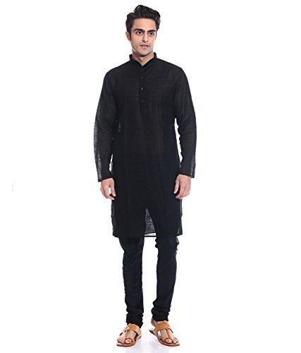 Royal Kurta Men's Occassional Wear Linen Kurta Churidar Set 44 Black