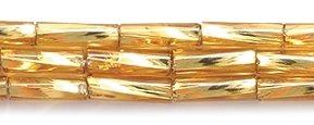 Preciosa Ornela 3BT454 Czech Twisted Bugle Glass Bead No.3, 2 by 7mm, Silver Lined, Gold
