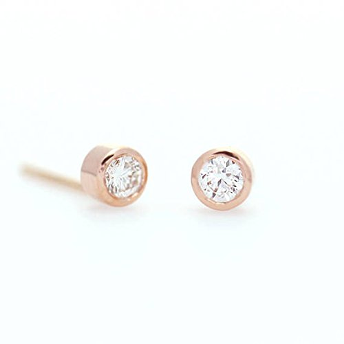 - Diamond Solitaire Earrings, Minimalist Earrings, Brilliant Cut 0.14 Ct. (0.07 Ct x 2), Dainty Diamond Bezel Set Earrings