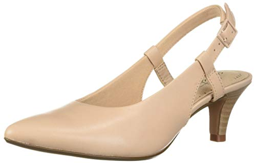 CLARKS Women's Linvale Loop Pump, Blush Leather, 10 W US