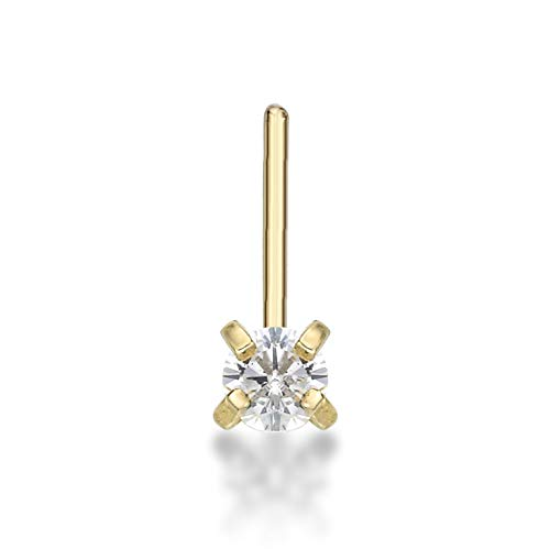 14K Yellow Gold Cubic Zirconia L-Shaped Stud Nose Ring - 22 Gauge - 2mm - Gift