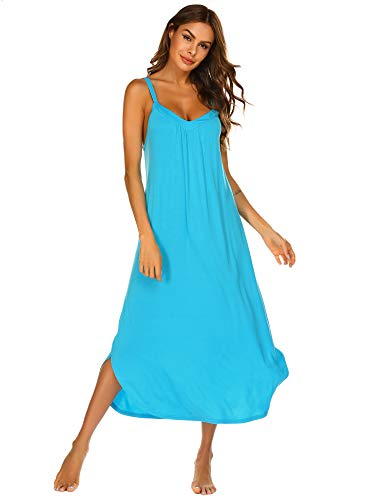 Ekouaer Women's Cotton V Neck Long Nightgown Sleeveless Full Slip Night Dress - Long Gown Sleepwear