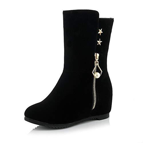 Black US5   EU35   UK3   CN34 Black US5   EU35   UK3   CN34 Women's Snow Boots Microfiber Fall & Winter Minimalism Boots Flat Heel Round Toe Mid-Calf Boots Imitation Pearl Rivet Black