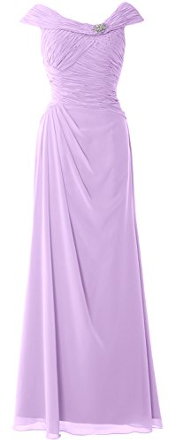 MACloth Women Cap Sleeves Boat Neck Formal Gown Long Mother of the Bride Dress Lavanda