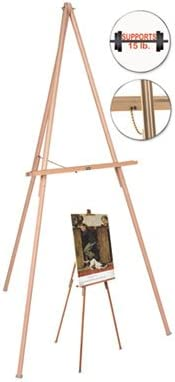 Sold as 1 Each Wood//Brass Oak Display Tripod Easel 60