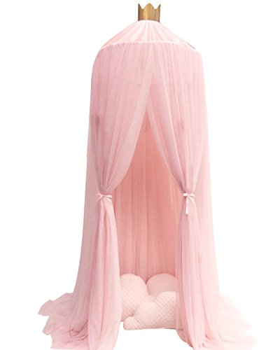 Souarts Round Mosquito Net Bed Canopy Play Tent Bedding for Kids Playing Reading Hanging Curtains Lace Dome Netting Pink