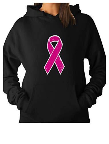 Tstars Breast Cancer Awareness - Distressed Pink Ribbon Women Hoodie XX-Large Black