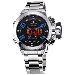 Oskar Emil Sigma Blue Sports Quartz Watch for Men with Black Dial Analogue - Digital Display and Silver Stainless Steel Bracelet Sigma Blue