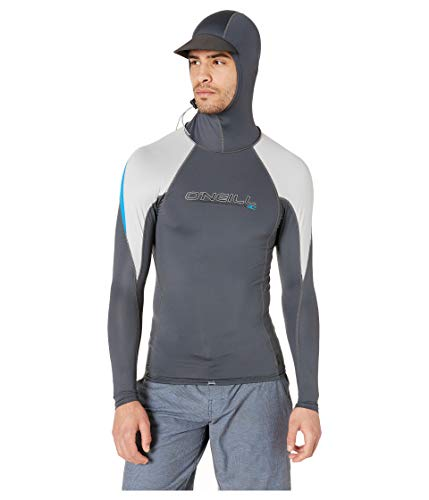 - O'Neill Wetsuits Men's Premium Skins Ozone Long Sleeve Sun Shirt with Hood, Graphic/Cool Grey/Ocean, Large