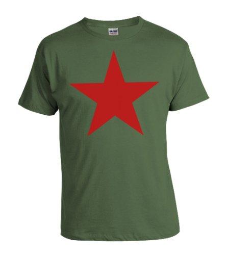 T-Shirt Stern der Revolution Viva la Revolucion in oliv und Roter Druck S-XXXXL