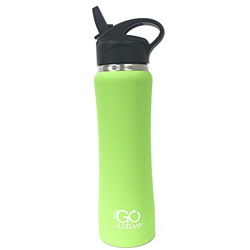 GO Active Insulated Water Bottle with Straw. Stainless Steel Double Wall Sport Bottle Keeps ice Cubes Over 24 Hours! (Lime, 24 oz)