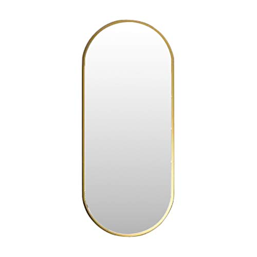 Nordic Metal Espejo para Colgar en la Pared Espejo Ovalado para Maquillaje Espejo de bano HD (Dorado) Creativo Moderno con Fijaciones Colgantes
