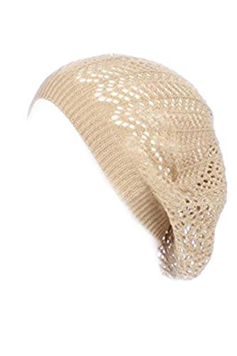 - an Fashionable Baggy Beanie Beige Net Design Knitted Hats for Women Beret Topper