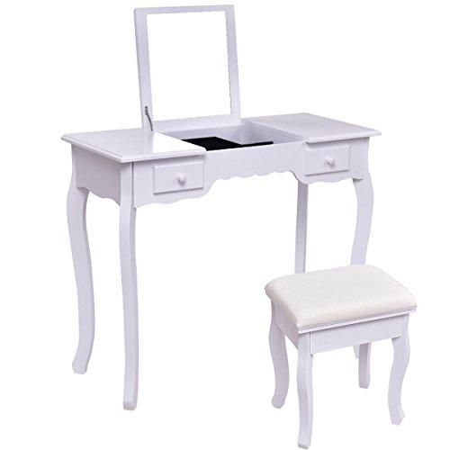 GJH One Vanity Dressing Table Set Mirrored Bathroom Furniture W/Stool Table Desk -