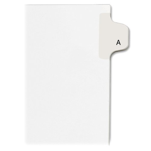 Avery Individual Legal Exhibit Dividers, Allstate Style, A, Side Tab, 8.5 x 11 inches, Pack of 25 (82163)