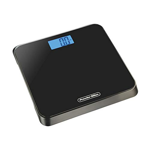 Proctor Silex 86550 Digital Body Weight Bathroom Scale, Step-on Technology, Large LCD Display, Black