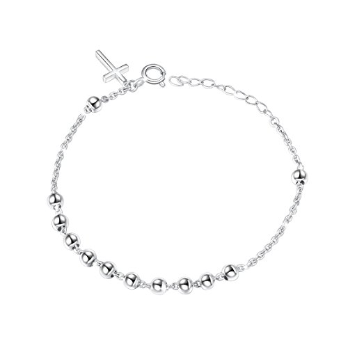 S925 Sterling Silver Faith Hope Love Jewelry Rosary Beads Cross Adjustable Bracelet 7 inches to 9 ()