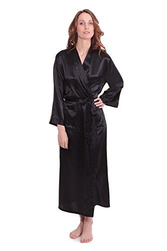 TexereSilk Women's 100% Long Silk Robe - Luxury Bathrobe by (Perla Naturale, Black, Large/X-Large) Romantic Gifts for Anniversary WS0101-BLK-LXL