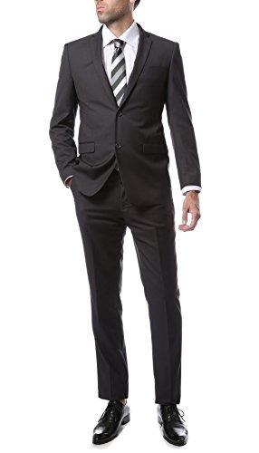 48R Mens 2pc 2 Button Slim Fit Heather Grey Zonettie Suit