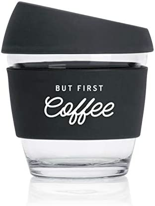 Reusable Glass Travel Cup 8oz 230ml But First Coffee Flat White Size Premium with Silicone Lid (Black)