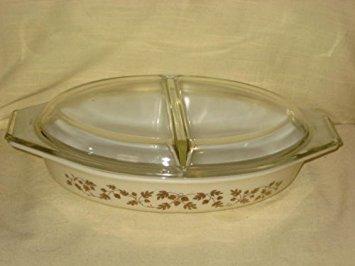 Vintage Corning Pyrex 1960 GOLDEN ACORN 1 1/2 Quart Divided Cinderella Casserole Baking Dish w/ Clear Lid