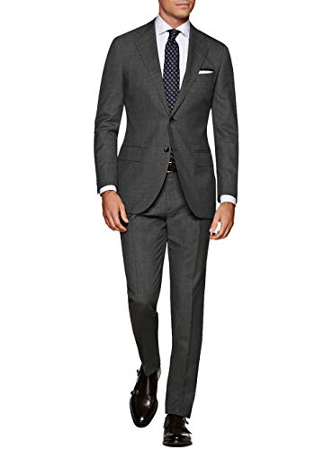 DTI GV Executive Italian 2 Button Men's Wool Suit Jacket Flat Front Pant 2 Piece (40 Short US / 50S EU/W 34