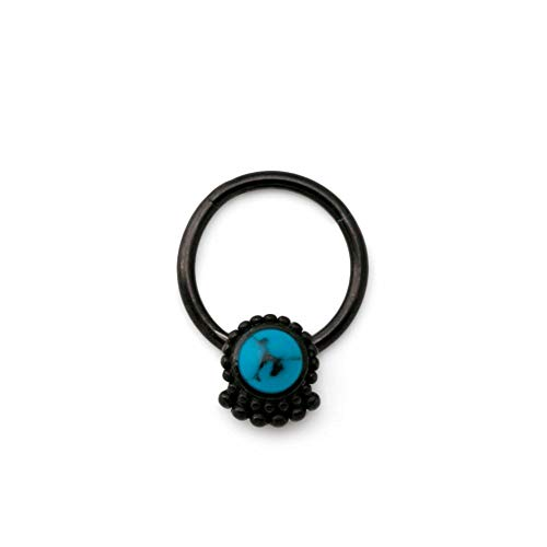 Painful Pleasures 16g Stainless Steel Septum Ring with Black PVD Coating and Synthetic Turquoise Stone Framed by Beaded Ornament - Clicker Mechanism