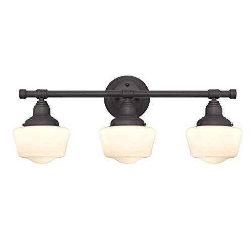 (Westinghouse Lighting 6342100 Scholar Three-Light Indoor Wall Fixture, Oil Rubbed Bronze Finish with White Opal Glass)