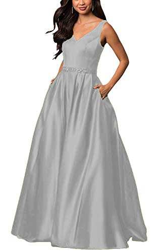 yinyyinhs Women's V Neck Prom Dresses A Line Long Beaded Evening Formal Gowns with Pockets Size 10 - Dessy Gowns Bridesmaids