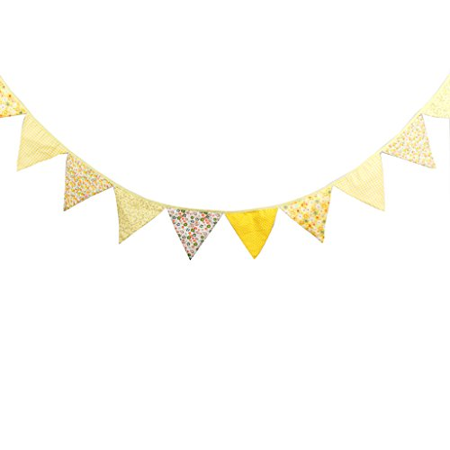 Multi Colored Fabric Bunting For Party Birthday Wedding Anniversary Celebration Baby Shower(Yellow)