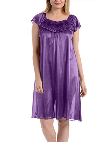 (Ezi Women's Satin Silk Ruffle Nightgown,Meadow Violet,L)