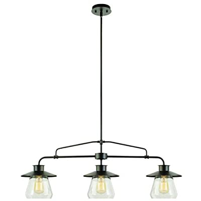 Globe Electric 1 Light Industrial Flush Mount Light Fixture with Clear Glass Shade