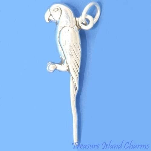 Macaw Parrot Talking Tropical Bird 3D 925 Solid Sterling Silver Charm Crafting Key Chain Bracelet Necklace Jewelry Accessories Pendants