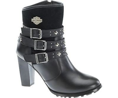 Heel Ladies Leather Boots Triple Strap Abbey Davidson Biker Dress Black Harley nE1xYawqg