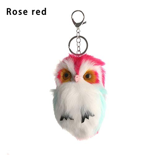 Lovely Fluffy Owl Key Chain Artificial Rabbit Fur Ball Keychain Women Key Ring (Color - Rose Red)