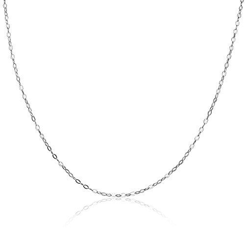 Sterling Silver 0.90mm Thin Delicate Cable Chain Necklace, 18 (Delicate Hoop)