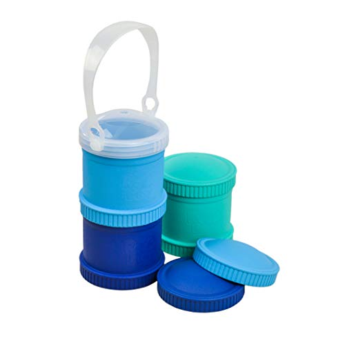 Re-Play Made in The USA 7 Piece Stackable Food and Snack Storage Containers for Babies, Toddlers and Kids of All Ages - Aqua, Sky Blue, Navy Blue (True Blue)