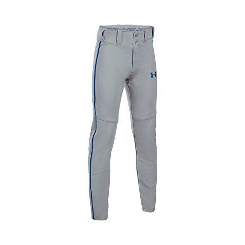 Boy's Under Armour Boys' Heater Piped Baseball Pants, Baseball Gray (078)/Royal, Youth Medium