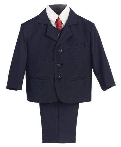 5 Piece Navy Blue Suit with Shirt, Vest, and Tie - Size L (12 Month)