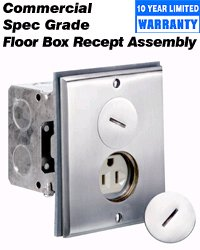 Leviton 25249-SBA 15Amp, 125 Volt, Floor Box, Includes Brass with Brushed Nickel Finish Floor Plate, Gasket, Screw Cap, O-Ring, and Switch Box