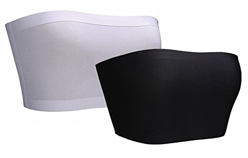 BRABIC Women's Bandeau Bras Tube Top Stretchy Strapless Seamless Pack of 3 (One Size, BlackWhite)