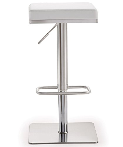 Tov Furniture The Bari Collection Adjustable Height Backless Swivel Stainless Steel Metal Industrial Bar Stool, White (Kitchen Stools Steel Stainless)