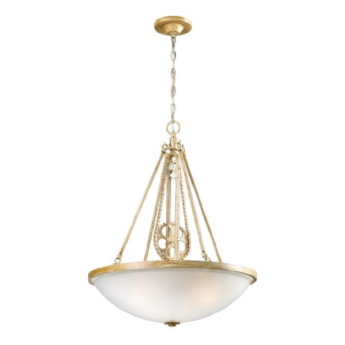 Elk 66275-3 3-Light Cog And Chain Pendant, Bleached Wood
