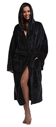 Womens Hooded Velvet Robe Fleece Bathrobe Soft Winter Plush Nightgown