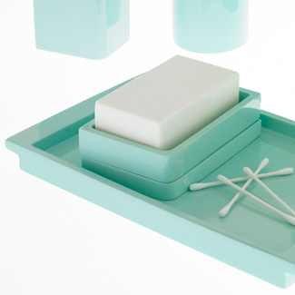Kassatex Lacca Bath Accessories Tray, Light Blue